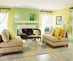 view in gallery blue yellow living room