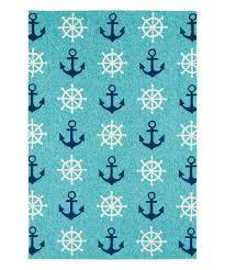 blue navy ship wheels sea isle indoor outdoor rug