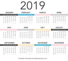 2019 Calendar Beta Calendars