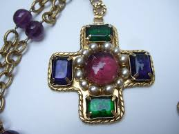 chanel exquisite poured glass cross pendant necklace the magnificent necklace is adorned with a jeweled cross