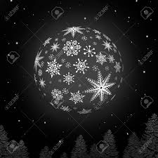 Night Snowball With Snowflake Texture And Black Background Stock