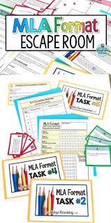 Mla Format Escape Room Activity Middle School Language Arts
