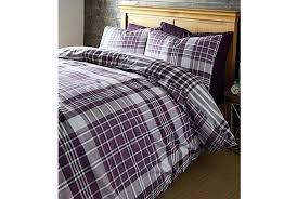 logan check reversible flannel bedding set plum absolute home flannel bedding set flannel duvet sets uk
