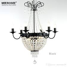 gorgeous french empire crystal chandelier light fixture vintage lighting wrought iron white chrome black color beaded