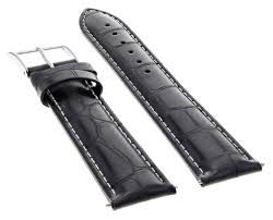 ewatchparts 24mm genuine leather watch band strap for cartier tank francaise watch black com