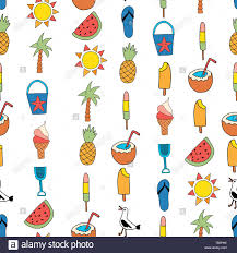 Summer Icons Seamless Vector Background Summer Icons Repeating Pattern