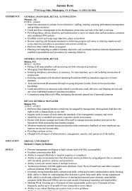 Retail General Manager Resume Samples Velvet Jobs