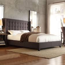 INSPIRE Q Marion Dark Grey Linen Nailhead Wingback Tufted Upholstered Bed -  Overstock Shopping -