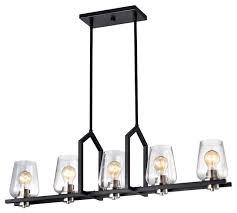 5 light black wrought iron linear