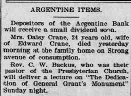 Daisy (Keenan) Crane death 7 May 1897 in the The Kansas City ...