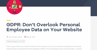 Gdpr Dont Overlook Personal Employee Data On Your Website