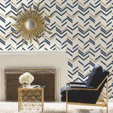 blue chevron stripe l and stick wallpaper