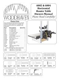Woodhaven 6002 6004 Horizontal Router Table With Angle Ease User