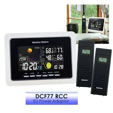 weather station wireless thermometer indoor outdoor monitor dcf77 rcc 2 sensors