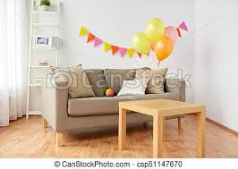 living room decorated for home birthday party celebration