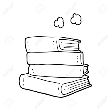 freehand drawn black and white cartoon stack of books stock vector 53214806