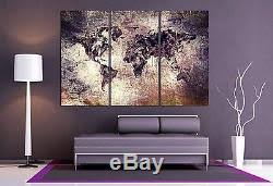 World Map Canvas Print 3 Panel Split Art Triptych For Home