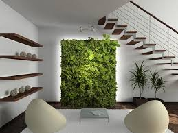Green wall design, modern interior decorating in eco style