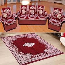 Buy Furnishing Kingdom 12 Pc Sofa, Chair Cover Set, Cushion \u0026 Carpet Combo