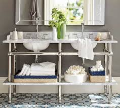 double console sink.  Console Contemporary Bathroom With Double Console Sink Featured Bottom Shelves   Charming  Wearefound Home Design O