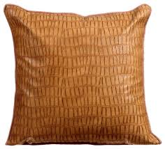 brown decorative pillow covers leather tan texture contemporary pillowcases and shams by the homecentric