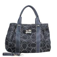 Coach Madison Logo Signature Medium Black Satchels DQJ