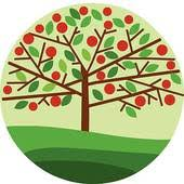 green apple tree clipart. apple tree illustration design; red on green background clipart