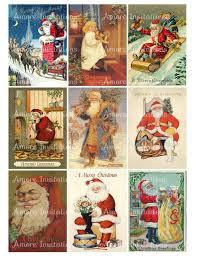 Printable Digital Vintage Christmas Santa Claus Collage Sheet Clip Art Images Jpeg Instant Download Downloadable Commercial Use Cu