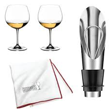 details about riedel vinum oaked chardonnay montrachet glass 2 pack with wine pourer bundle