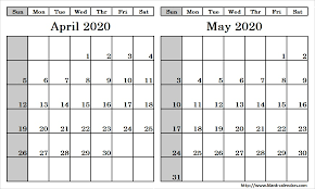 April May 2020 Calendar Printable Blank Two Month April May 2020 Calendar Printable Template