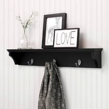 24 Inch Coat Rack Kiera Grace Finley 100 Wall Shelf with 100 Metal Hooks Black 4