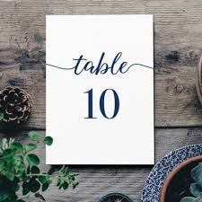 Table Number Design Navy Blue Table Numbers Printable Numbers Template For