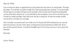 financial aid appeal letter for bad