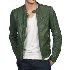 men s casual wear green leather motorcycle jacket
