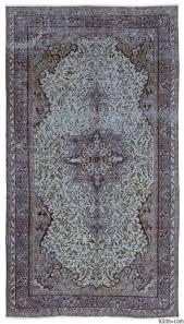blue over dyed turkish vintage rug 5 2 x 9