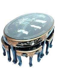pier one side table pier one mother of pearl side table black lacquered with six stools