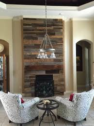 reclaimed wood wall fireplace with mantle