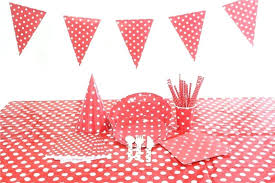 red polka dot party decoration supplies paper flags plastic tablecloth birthday hats wooden cutlery disposable tableware green plaid plastic tablecloth