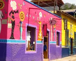 Colorful Lake Chapala street in Ajijic, Jalisco, Mexico