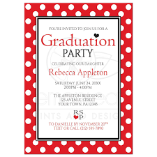 Polka Dot Invitations Graduation Party Invitations Polka Dot Red And White