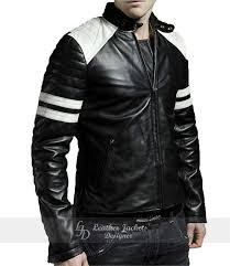 brad pitt s mayhem fight club black white biker style mens faux leather jacket front view