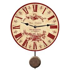 red toile pendulum wall clock french