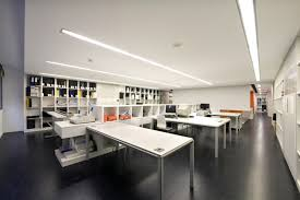 contemporary office design concepts. interior office and workspace simply white table with storage divider wall bookshelves in black studio design modern contemporary concepts