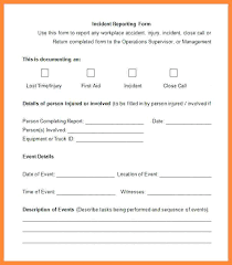 Work Incident Report Form Template Glotro Co