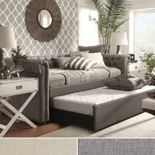 Overstock Bedroom Furniture Knightsbridge Tufted Scroll Arm Chesterfield Daybed And Trundle By