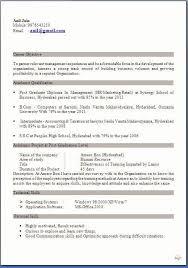 Mba Finance Resume Sample For Freshers Elephantroom Creative