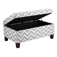 grey  white chevron stripe padded storage ottoman bench