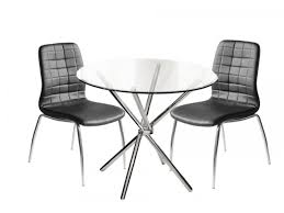 round glass dining table set 4 black quilted chairs