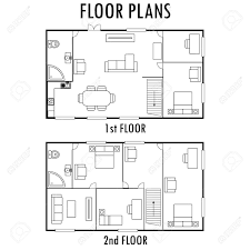 drawing furniture plans. Architecture Plan With Furniture. House First And Second Floor Plan, Isolated On White Background Drawing Furniture Plans