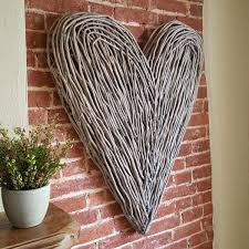 Large Wicker Heart With Lights Extra Large Wicker Wall Heart 100 H Cm At 1 Metre In